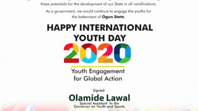 Photo of 2020 INTL YOUTH DAY: Ogun APCYL Coord, Lawal wants Youths to channel potentials for development