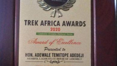 Photo of Hon. Adewale Temitope Adedeji bags TrekAfrica's Lawmaker Of The Year 2020 Award